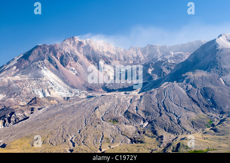 Smoking crater of the active volcano Mount St. Helens, National Volcanic Monument State Park, Washington, USA, North - Stock Photo