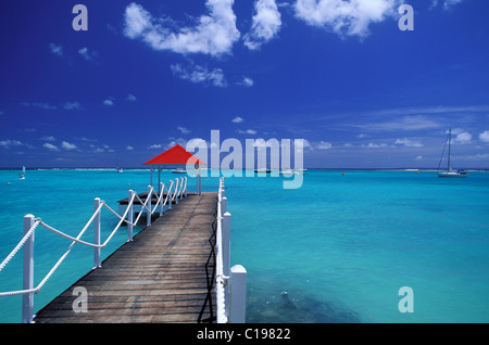 France, Guadeloupe (French West Indies), Basse Terre, sailling boat mooring at deshaies - Stock Photo