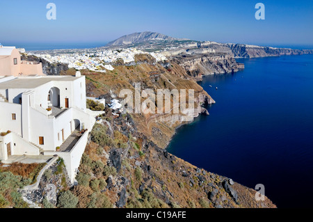 View over the crater edge of Santorini and the town of Thira, Fira, Cyclades, Greece, Europe - Stock Photo
