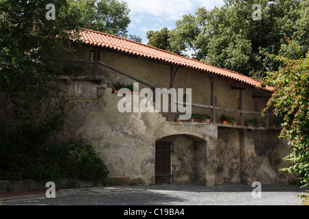 Town wall, Schongau, Pfaffenwinkel, Upper Bavaria, Bavaria, Germany, Europe - Stock Photo