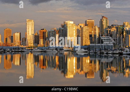 Vancouver skyline with Coal Harbour, photographed from Stanley Park, Vancouver, Canada - Stock Photo