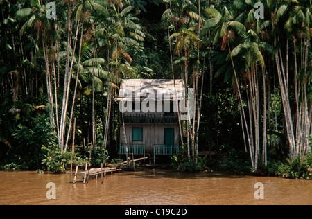 Hut on the Amazon River, Brazil, South America - Stock Photo