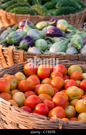 Aubergines / Eggplant , Tomatoes and Bitter gourd in baskets at an Indian market. Andhra Pradesh, India - Stock Photo
