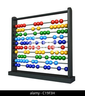 3d render of an abacus with colotful balls - Stock Photo