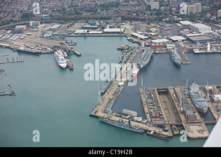 aerial view of Portsmouth docks - Stock Photo