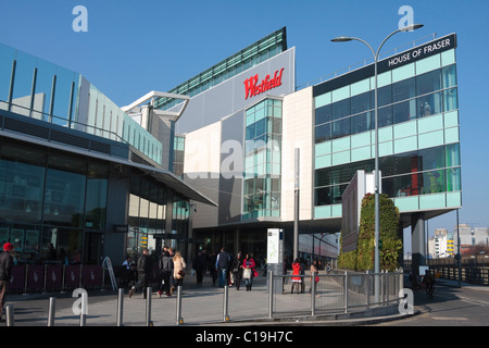 A landscape picture of the Westfield shopping centre in Shepherds Bush, London, UK - Stock Photo