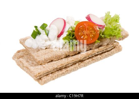 three dry crisp bread slices with cottage cheese - Stock Photo