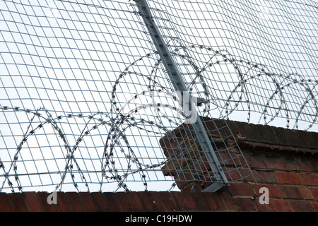 Razor wire on top of wall to keep out unwanted people Stock Photo ...