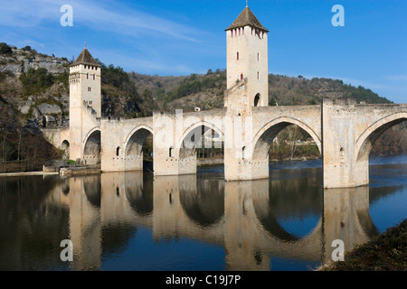 The medieval Pont Valentre over the River Lot, Cahors, The Lot, France - Stock Photo
