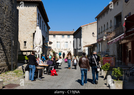 Street cafe in the medieval walled city (Cite) of Carcassonne, Languedoc, France - Stock Photo