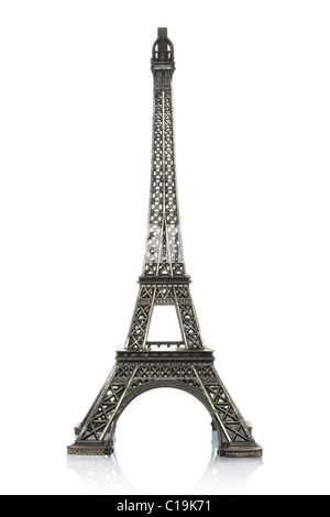 Eiffel tower model isolated on white background - Stock Photo