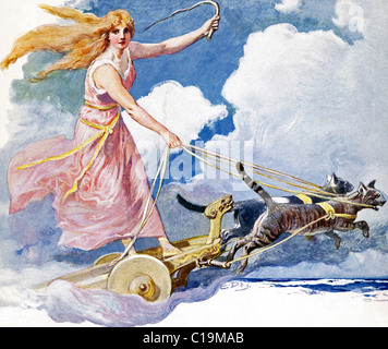 In Norse myth, Freya, also spelled Freyja and Freyia, was the goddess of fertility, love and marriage, and light - Stock Photo