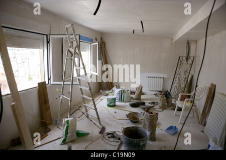 messy room during construction improvement, tools and materials - Stock Photo