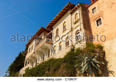 Villa front in the old wall of Rab Island, Craotia - Stock Photo