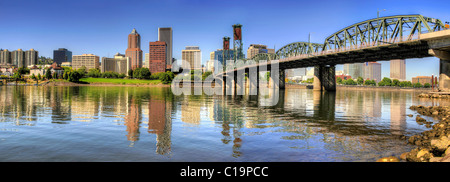 Portland Oregon Downtown Skyline and Hawthorne Bridge Reflection Panorama - Stock Photo