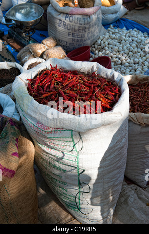 Sack of dried red chili at an Indian market - Stock Photo