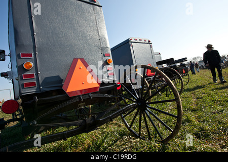 Amish buggies displayed at auction during the Annual Mud Sale to support the Fire Department March 12 in Gordonville, - Stock Photo