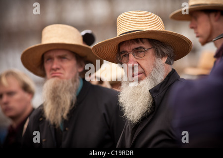 Amish men watch the horse auction during the Annual Mud Sale to support the Fire Department - Stock Photo