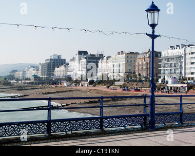 The seafront at Eastbourne in East Sussex from the pier - Stock Photo