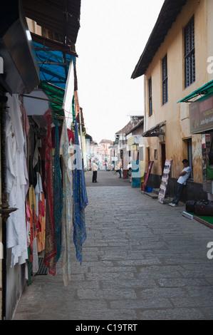 Street market, Jew Town, Mattancherry, Kochi, Kerala, India - Stock Photo