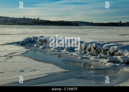 Entrance to Stockholm on a sunny day in winter, view from the island of Lidingö - Stock Photo