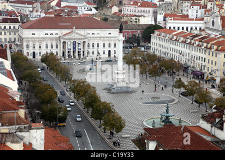 Rossio, Praca dom Pedro IV, Lisbon, Portugal - Stock Photo