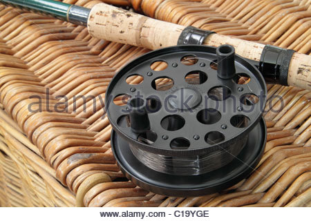 Centre pin fishing reel stock photo royalty free image for Center pin fishing
