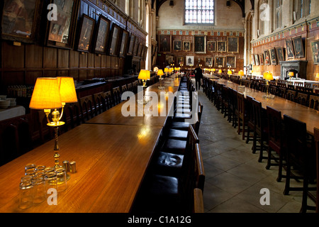 Interior of the Great hall at Christ Church College of the Oxford University, Oxfordshire, England, UK - Stock Photo