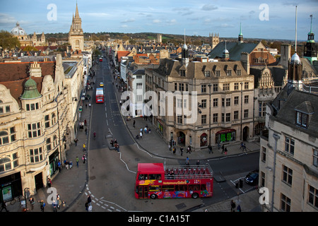 View over High Street in Oxford city, Oxfordshire, England, UK - Stock Photo