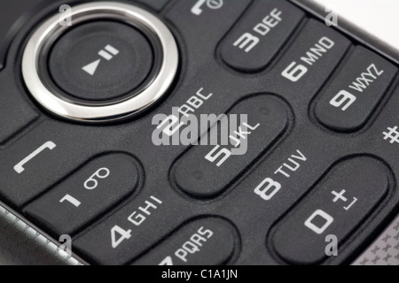 mobile phone keyboard keys with numbers and letters Close up