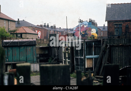 A view of pansy graffiti on a Lancashire house viewed through the back yards of terraced housing UK 1975   KATHY - Stock Photo