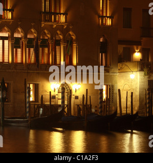 Foscari Palace Hotel, Venice at night, Italy - Stock Photo