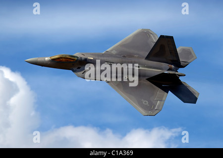 Lockheed Martin F22A RAPTOR aeroplane of the USAF Air Combat Command Wing, Raptor Demonstration Team - Stock Photo