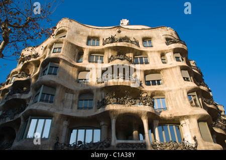 Casa Mila aka La Pedrera along Passeig de Gracia boulevard Eixample district Barcelona Catalunya Spain Europe
