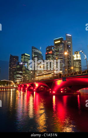 The Fullerton Hotel and city skyline viewed from the Esplanade waterfront.  Marina Bay, Singapore - Stock Photo