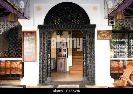 Restaurant entrance, foreshore, Old Stone Town, Lamu, Kenya - Stock Photo