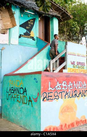 Restaurant, foreshore, Old Stone Town, Lamu, Kenya - Stock Photo