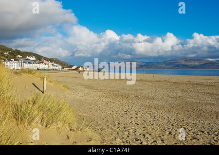 Beach at Aberdovey in winter Gwynedd Wales UK United Kingdom GB Great Britain - Stock Photo