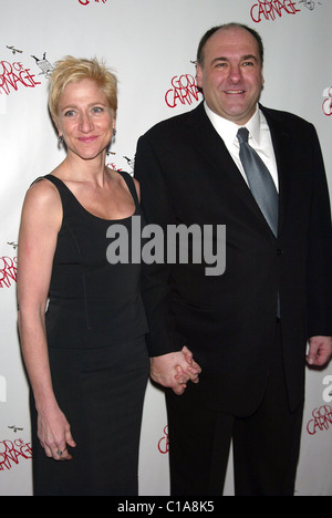 Edie Falco and James Gandolfini Opening night for the Broadway play 'God Of Carnage' after party held at Espace - Stock Photo