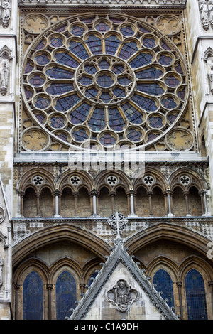 The Main window at the front entrance to Westminster Abbey - Stock Photo