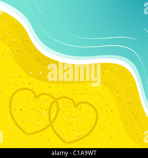 Two hearts drawn in the sand on a beach background with turquoise sea - Stock Photo