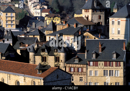 France, Correze, Tulle, the Neighborhood of L'Enclos in the old district (Limousin) - Stock Photo