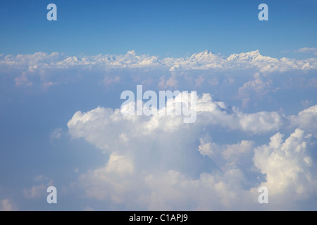 Aerial view of Himalayas, taken from passenger jet over Kathmandu, Nepal, Asia - Stock Photo