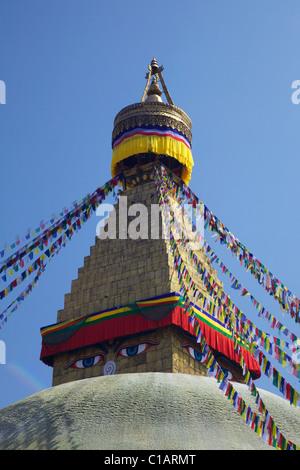 Boudhanath Stupa, ancient holy Buddhist site and UNESCO World Heritage Site, Kathmandu, Nepal, Asia - Stock Photo
