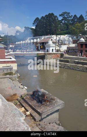 Pashupatinath Cremation site on the Bagmati river, Kathmandu, Nepal, Asia - Stock Photo