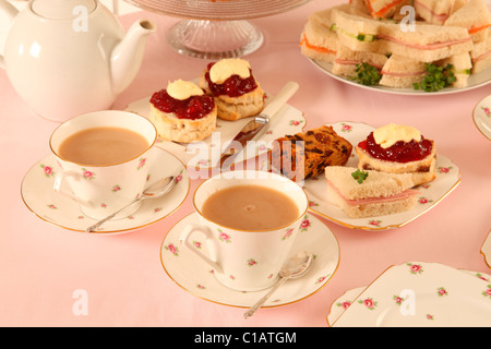 BRITISH AFTERNOON TEA WITH SCONES - Stock Photo