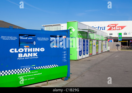 Clothing bank in the Recycling area of a local Supermarket  England GB UK EU Europe - Stock Photo