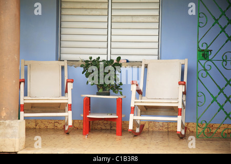 Two rocking chairs on the porch Varadero Cuba - Stock Photo