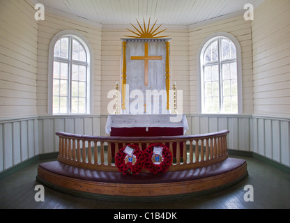 Altar in the Norwegian Church, Grytviken Harbour, South Georgia - Stock Photo