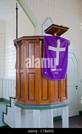Pulpit in the Norwegian Church, Grytviken Harbour, South Georgia - Stock Photo